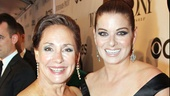 Laurie Metcalf shares a big smile with fellow Emmy-winning TV star Debra Messing.