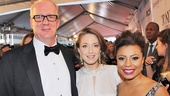 Newly engaged couple (and former Who's Afraid of Virginia Woolf? co-stars) Tracy Letts and Carrie Coon snag a photo with Vanya and Sonia and Masha and Spike standout Shalita Grant.