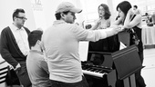 Kate Loprest and Krysta Rodriguez have a piano pow-wow with director Bill Berry and musical supervisor Dominick Amendum.