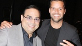 Forever Tango's Grammy-winning vocalist Gilberto Santa Rosa shares a smile with fellow Grammy winner and Broadway alum Ricky Martin.