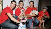 Jersey Boys stars Drew Gehling, Dominic Scaglione Jr., Matt Bogart and Andy Karl are handsome, but one camera-happy hound is definitely stealing the show!