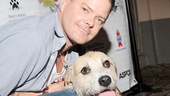 Clarke Thorell makes a tongue-wagging new pal at Broadway Barks.