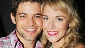 Jeremy Jordan receives some wrap party love from his super talented wife, Ashley Spencer, who also pops up in the film.
