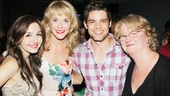 Mistress, wife and agent! Jeremy Jordan snaps a pic with Natalie Knepp (who plays the adulterous Elise), Ashley Spencer (Jordan's real-life wife) and Marceline Hugot (who plays Jamie's agent, Mrs. Whittfield).