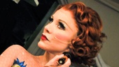 Broadway favorite Charlotte d'Amboise puts finishing touches on her makeup as Fastrada.