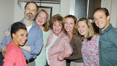 The cast of Tony-winning Vanya and Sonia and Masha and Spike welcomes Judith Sheindlin to the Golden Theatre after the August 15 evening performance. From left: Shalita Grant, David Hyde Pierce, Kristine Nielsen, Judith Sheindlin, Julie White, Liesel Allen Yeager and Creed Garnick.