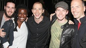 Soul Doctor's JC Schuster, Godspell vet Uzo Aduba Godspell and Pippin music director Charlie Alterman, Godspell star Hunter Parrish and Godspell and Pippin stage manager Stephen Gruse hang out after the show.