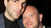 The Glass Menagerie helmer John Tiffany cozies up to his star, TV and film actor (and now Broadway performer) Zachary Quinto.