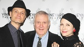 John Kander is flanked by two actors who won Tonys in his shows: The Landing's David Hyde Pierce, who won for Curtains, and Bebe Neuwirth, who won for Chicago.
