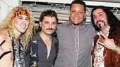 Stars Joey Calveri (Stacee Jaxx), Genson Blimline (Lonny) and Matt Ban (Dennis) show Miguel Cabrera how to party like a rock star.