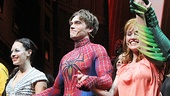 Spider-Man stars Christina DeCicco, Justin Matthew Sargent and Rebecca Faulkenberry enjoy their final Broadway curtain call.