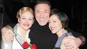 Patrick Page cozies up to former stage spouse Laura Beth Wells and his real wife, actress Paige Davis.