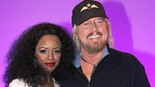 New Motown star Krystal Joy Brown greets Barry Gibb backstage.