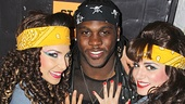 Rock of Ages players Tessa Alves and Neka Zang rally around Joique Bell.
