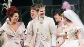 Cinderella co-stars Fran Drescher, Joe Carroll & Carly Rae Jepsen share a laugh at curtain call.