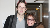 Cinderella star Joe Carroll greets Tony winner Patti LuPone after the show.