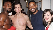 Will Smith hangs out backstage with Rocky stars Terence Archie, Andy Karl and Margo Seibert.