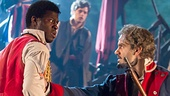 Kyle Scatliffe as Enjolras & Ramin Karimloo as Jean Valjean in Les Miserables Photo by Matthew Murphy