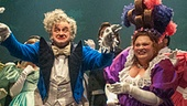 Keala Settle as Madame Thenardier & Cliff Saunders as Monsieur Thenardier & the cast of Les Miserables Photo by Michael Le Poer Trench