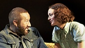 Chris O'Dowd as Lennie & Leighton Meester as Curley's wife in Of Mice and Men