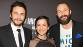 James Franco and Chris O'Dowd flank Of Mice and Men director Anna D. Shapiro.