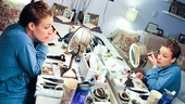 Backstage in her dressing room, Beautiful headliner Jessie Mueller applies her eye makeup.