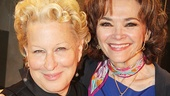 Bette Midler and former Harlette Linda Hart reunite backstage at Piece of My Heart.