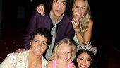 Aladdin stars Adam Jacobs and Courtney Reed welcome Paul Stanley and his family backstage.