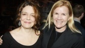 Cast member and off-Broadway favorite Deirdre O'Connell in congratulated by Mare Winningham, currently starring in After the Revolution at Playwrights Horizons.