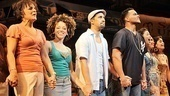 Priscilla Lopez, Marcy Harriell, Lin-Manuel Miranda, Christopher Jackson and Arielle Jacobs join hands for one final Broadway bow.