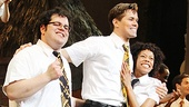 The Book of Mormon&#39;s leading trio (Josh Gad, Andrew Rannells and Nikki M. James) comes together at the curtain call. 