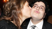 Mormon and longtime South Park producer Anne Garefino plants a kiss on leading man Josh Gad.