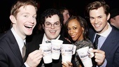 Cheers! Mormons don't drink coffee, but show stars Rory O'Malley, Josh Gad, Nikki M. James and Andrew Rannells toast to the show's success with java anyway. Come see them in The Book of Mormon!