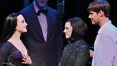 Bebe Neuwirth as Morticia, Zachary James as Lurch, Rachel Potter as Wednesday and Jesse Swenson as Lucas Beineke in The Addams Family.