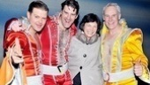 Mayor Bloomberg's girlfriend, Diana Taylor, finds herself in a disco sandwich courtesy of the men of Mamma Mia!: Clarke Thorell, Patrick Boll and John Dossett.