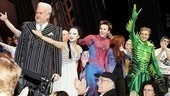 The Spider-Man cast (Michael Mulheren, T.V. Carpio, Reeve Carney, Jennifer Damiano and Patrick Page) give props to the show's talented musicians.