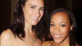 Women on the Verge&#39;s Laura Benanti greets fellow best featured actress nominee Nikki M. James of  The Book of Mormon.