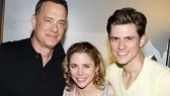 She's one lucky lady! Catch Me's Kerry Butler gets a snapshot between screen legend Tom Hanks and Broadway heartthrob Aaron Tveit.