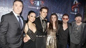 Bono and The Edge join their Spidey stars: Patrick Page, T.V. Carpio, Reeve Carney and Jennifer Damiano.