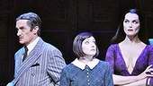 Jackie Hoffman as Grandma, Zachary James as Lurch, Roger Rees as Gomez Addams, Rachel Potter as Wednesday Addams, Brooke Shields as Morticia Addams, Brad Oscar as Uncle Fester and Adam Riegler as Pugsley in The Addams Family.