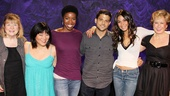 Jerry Ferrara finds himself a new entourage as he hops in for a group photo with Love, Loss and What I Wore's Marylouise Burke, Ann Harada, Roslyn Ruff, Emmanuelle Chriqui and Yeardley Smith. Check out the show for yourself at the Westside Theatre!