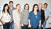 Director Sam Gold and playwright Theresa Rebeck get between Seminar-goers Hettienne Park, Jerry O'Connell, Lily Rabe, Alan Rickman and Hamish Linklater.