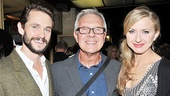 Director Walter Bobbie is congratulated by the stars of his next project, Venus in Fur: Hugh Dancy and Nina Arianda.