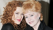 After delivering a powerful performance as former showgirl Sally Durant Plummer, Bernadette Peters enjoys some quality time with stage and screen great Debbie Reynolds.