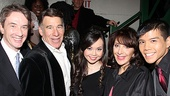 Martin Short, composer Stephen Schwartz and Andrea Martin step in for a photo with 2011 stars Anna Maria Perez de Tagle and Telly Leung.