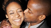 Tracie Thoms is all aglow as she gets an opening night smooch from her Stick Fly onstage love Dul Hill. 