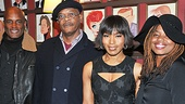 The Mountaintop director Kenny Leon, stars Samuel L. Jackson and Angela Bassett, and playwright Katori Hall await the big moment at Sardi's.