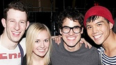 Darren Criss was also gleeful to greet Godspell understudy Julia Mattison (a real-life pal since they were eight years old). They join Nick Blaemire and Telly Leung for a four-shot.