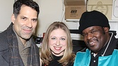 Christopher Innvar, Chelsea Clinton and Roosevelt Andre Credit flash us a smile backstage at the Richard Rodgers Theatre.