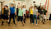 "The cast hits their final pose in ""Seize the Day!"" From left: Andy Richardson, Ben Fankhauser, Evan Kasprzak, Jeremy Jordan, Ryan Breslin, Kyle Coffman, Ephraim M. Sykes and Thayne Jasperson"